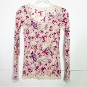 EUC Free People floral sheer long sleeve lace top